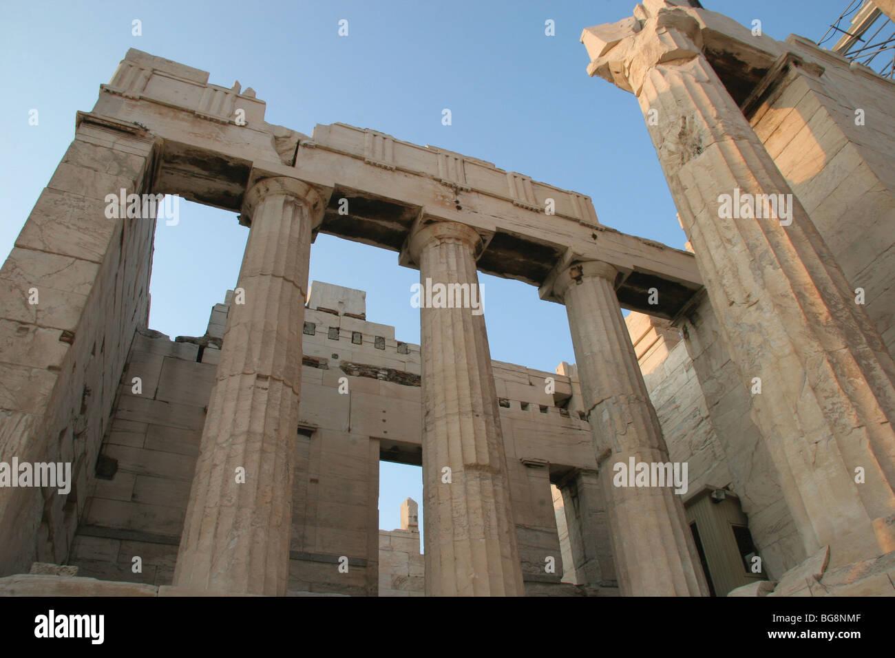 The Propylaea.  Acropolis. Athens. Greece. Stock Photo