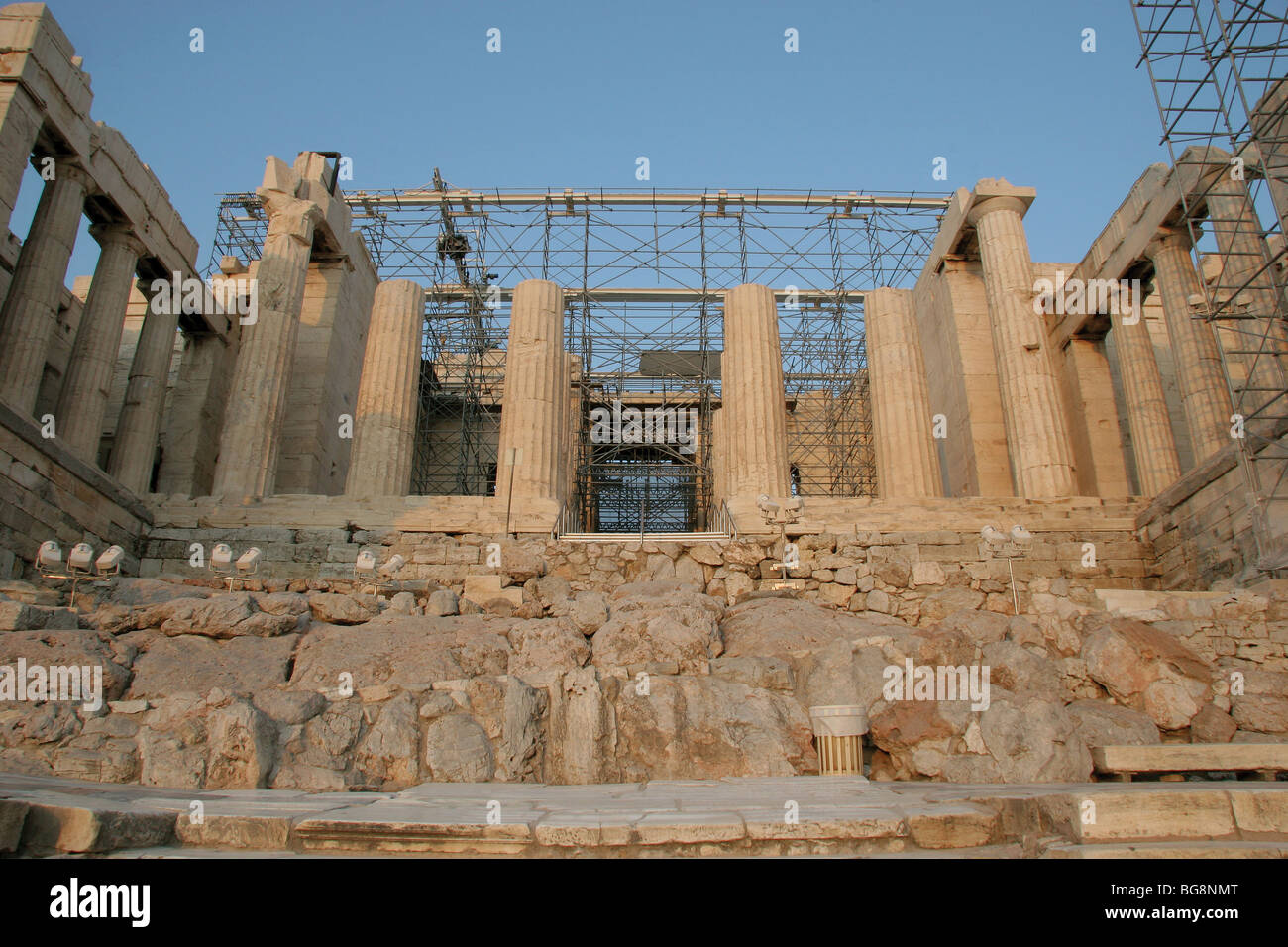The Propylaea.  Acropolis. Athens. Greece. Stock Photo
