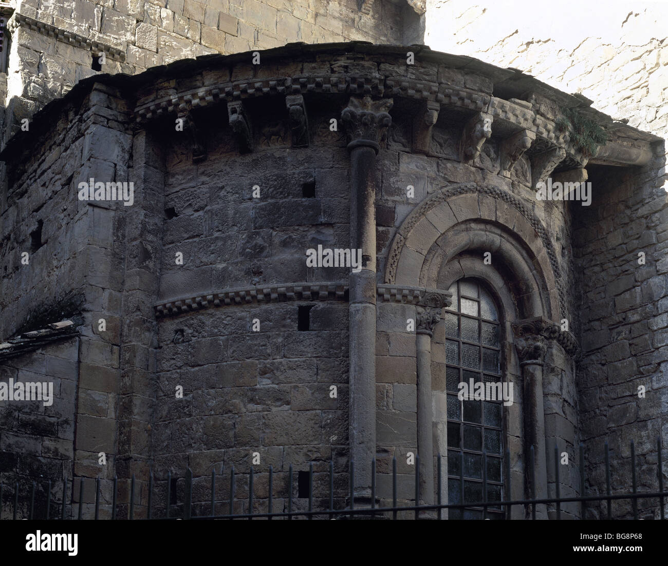 Saint Peter's Cathedral. XI century. Outside view. South apse. Jaca. Aragon. Spain. - Stock Image