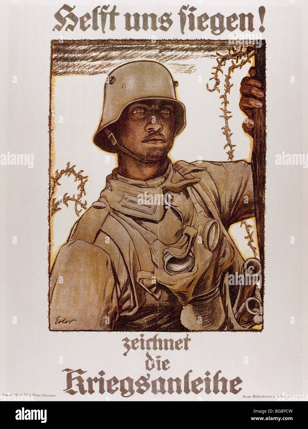 WORLD WAR I (1914-1918). Poster ' Help us win ' by Fritz ERLER (1868-1940), edited by the German Government. - Stock Image