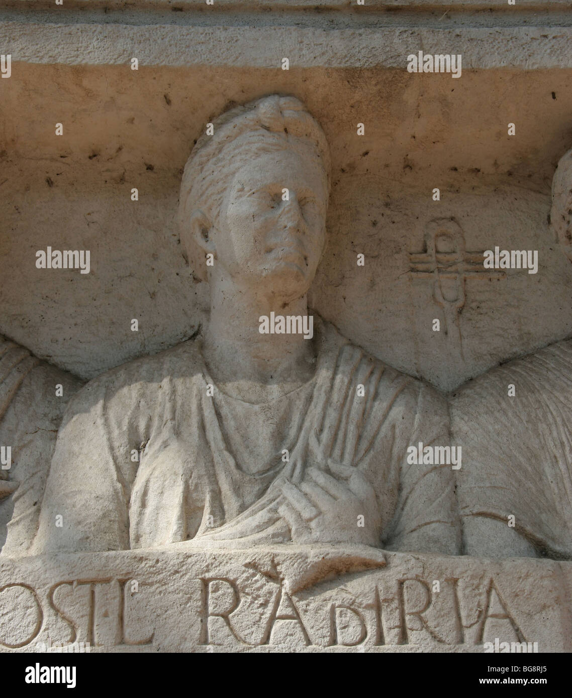 The Appian Way.  Funeray monument. Tomb of Rabiri. Relief of priestess of Isis. Rome. - Stock Image