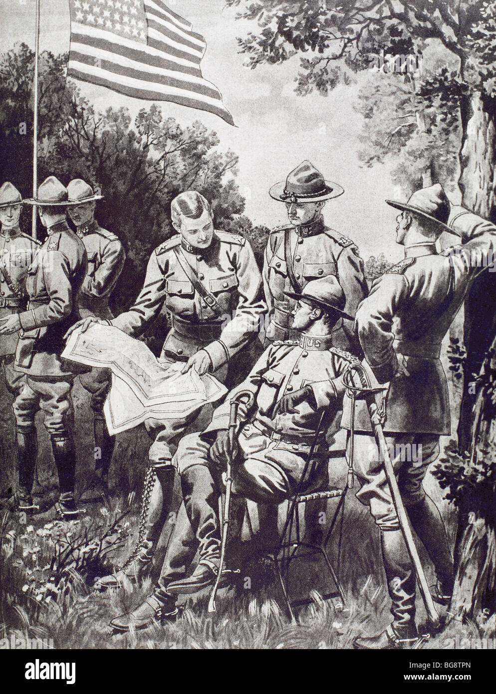 WORLD WAR I (1914-1918). On April 5 of 1917 the USA declares war on the central empires. American military officers - Stock Image