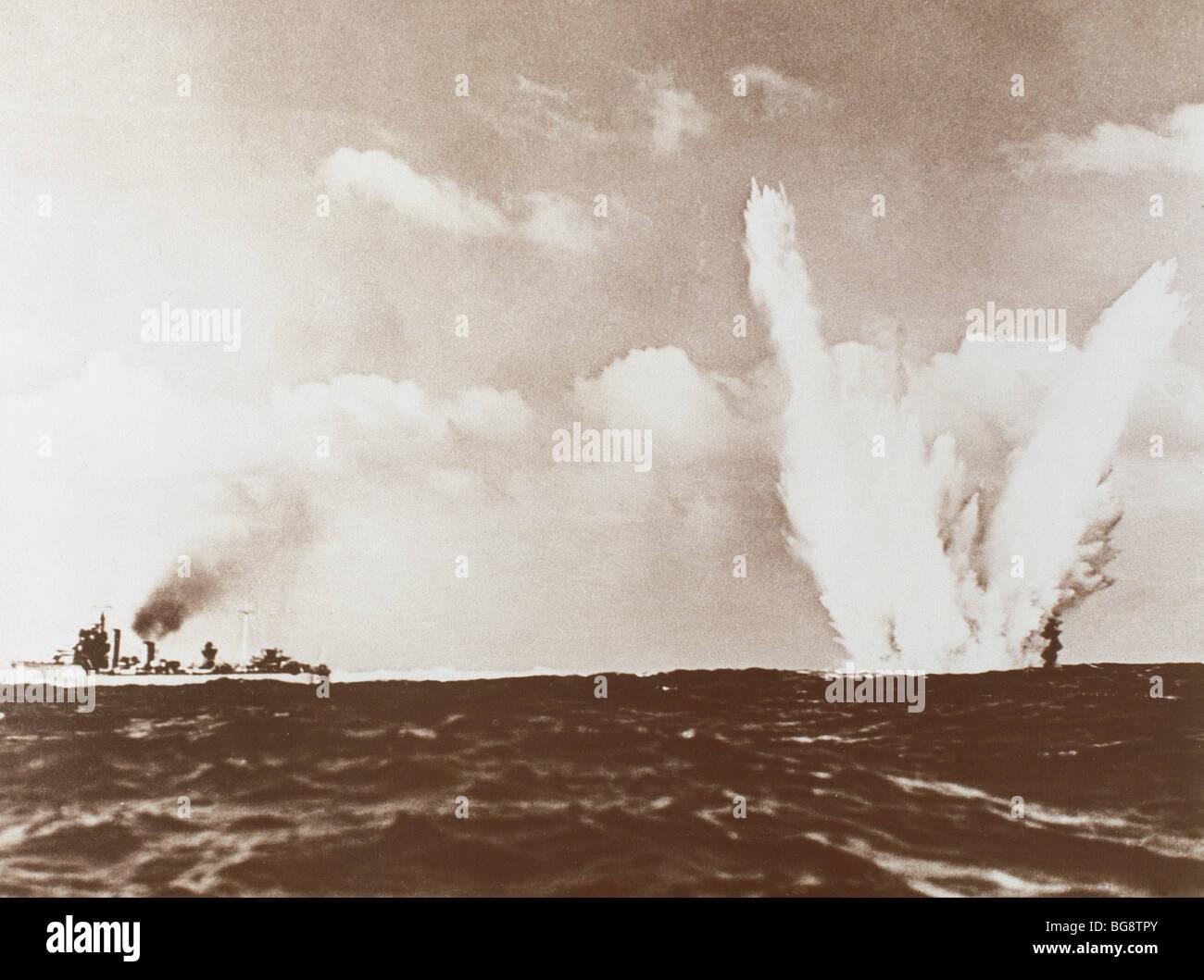 SECOND WORLD WAR (1939-1945). Underwater mine explosion. - Stock Image