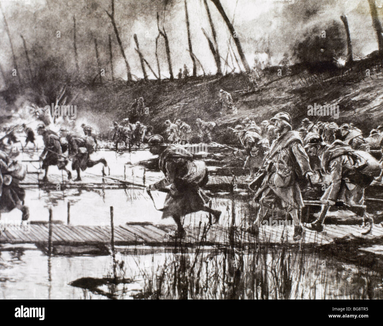 FIRST WORLD WAR (1914-1918). French army crosses the river Isere on improvised gateways under enemy fire (August - Stock Image