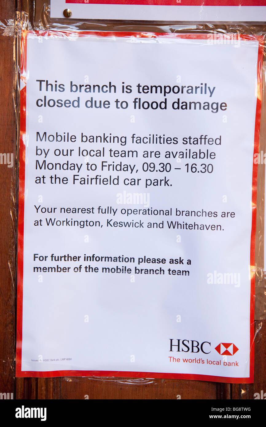 Bank closed by flooding in Cockermouth - Stock Image