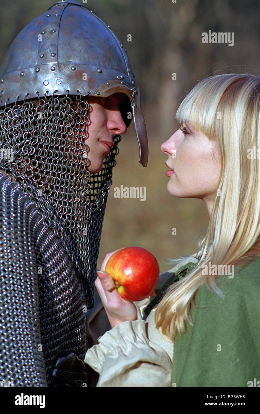 Young medieval couple, strong soldier and maid - Stock Image