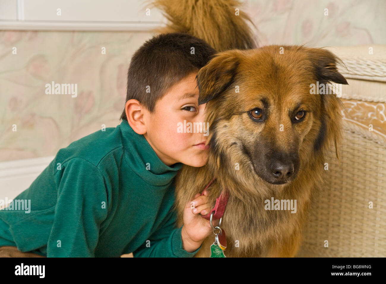 6-7 year old Hispanic boy being affectionate with his dog. child playing play plays dog eye level close up  front - Stock Image