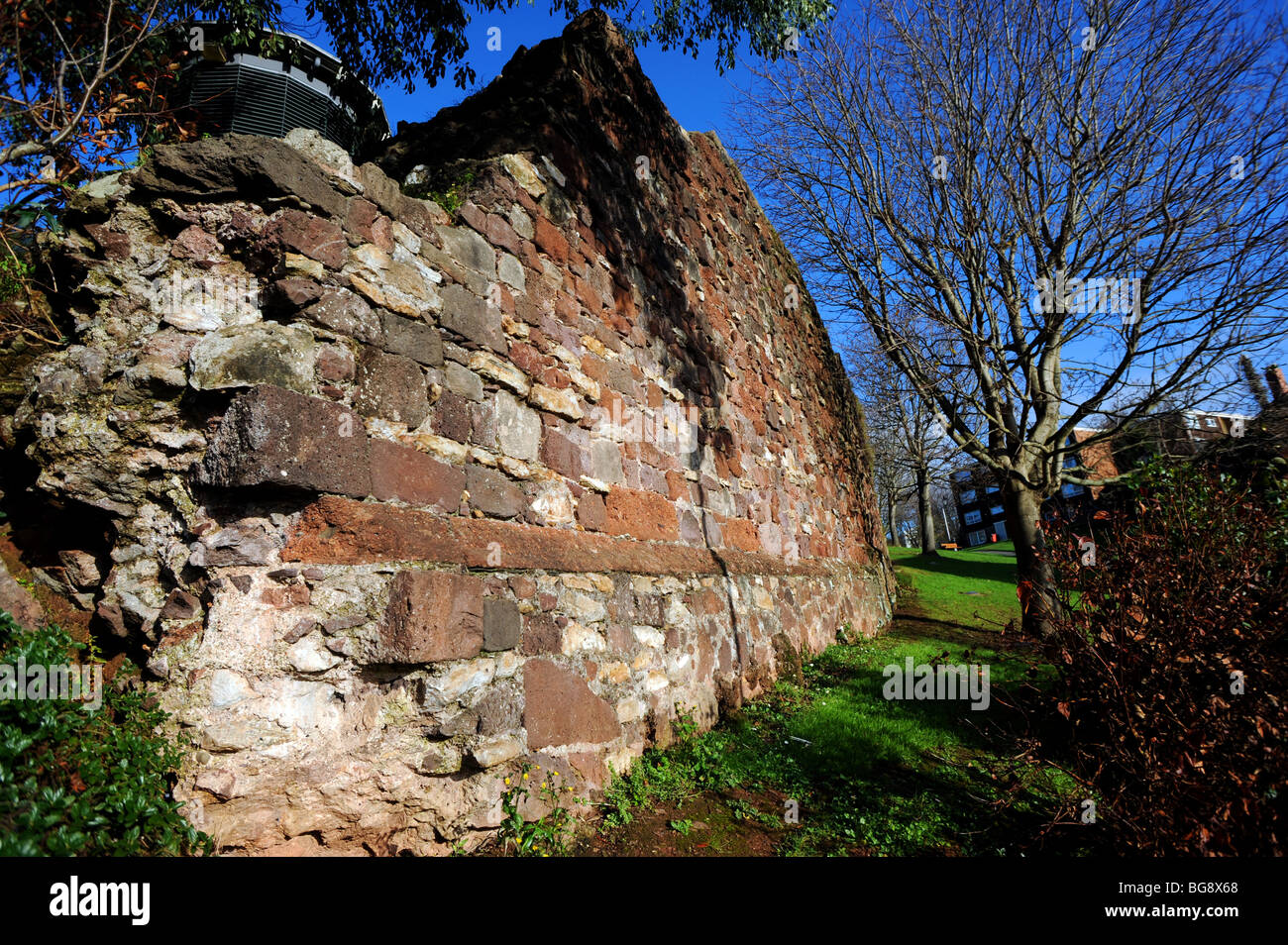 Remains of the old city wall in exeter built by the romans - Stock Image