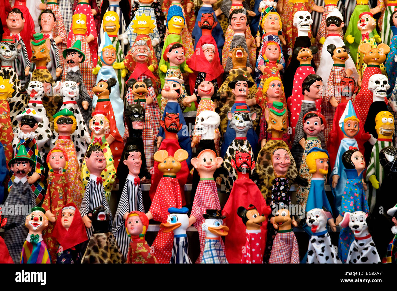 Pattern of simple hand puppets - Stock Image