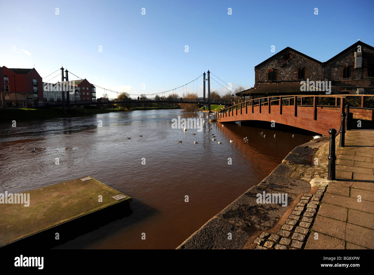 View of the exe canal from the quayside exeter - Stock Image