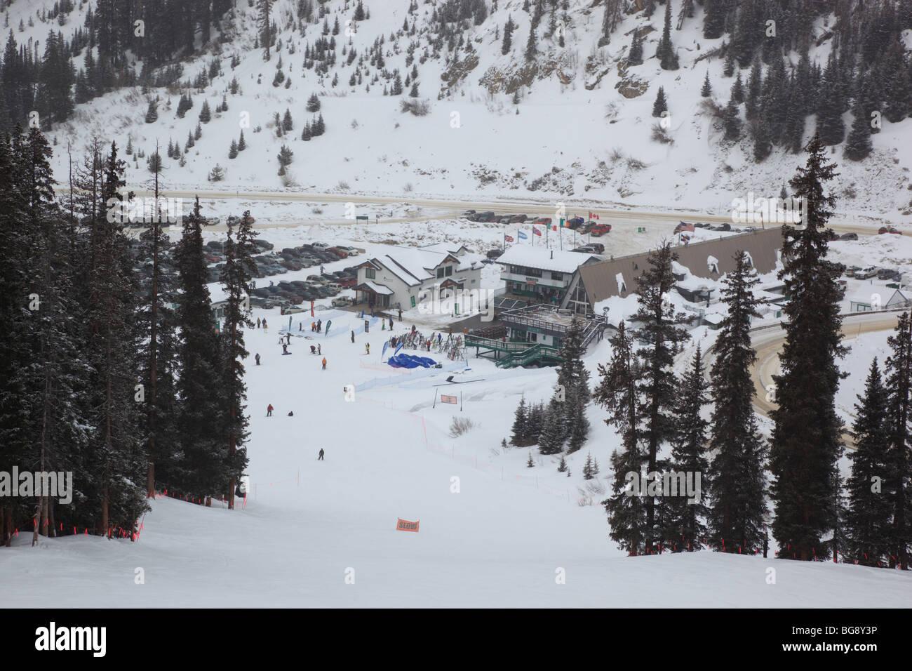 Base area of Arapahoe Basin ski area in Colorado USA - Stock Image