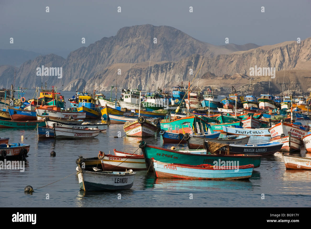 Fishing Boats in Harbor, Pucusana, PERU - Stock Image