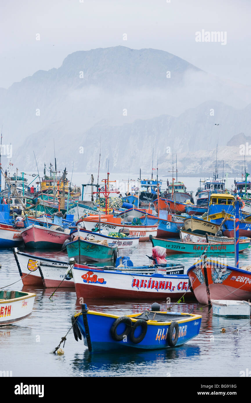 Fishing Boats in Harbor, Pucusana , Peru - Stock Image