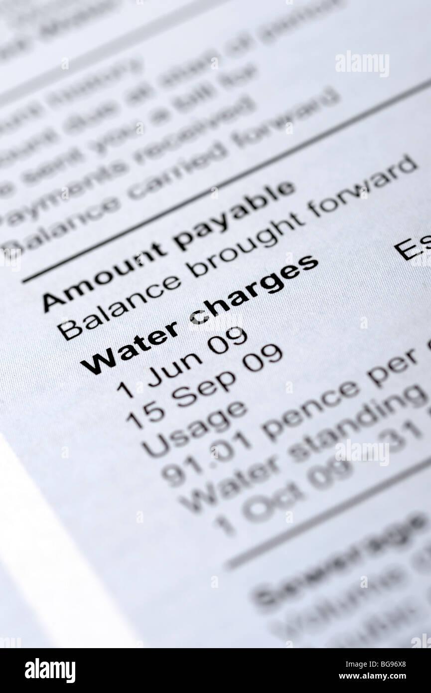 Water bill - Stock Image