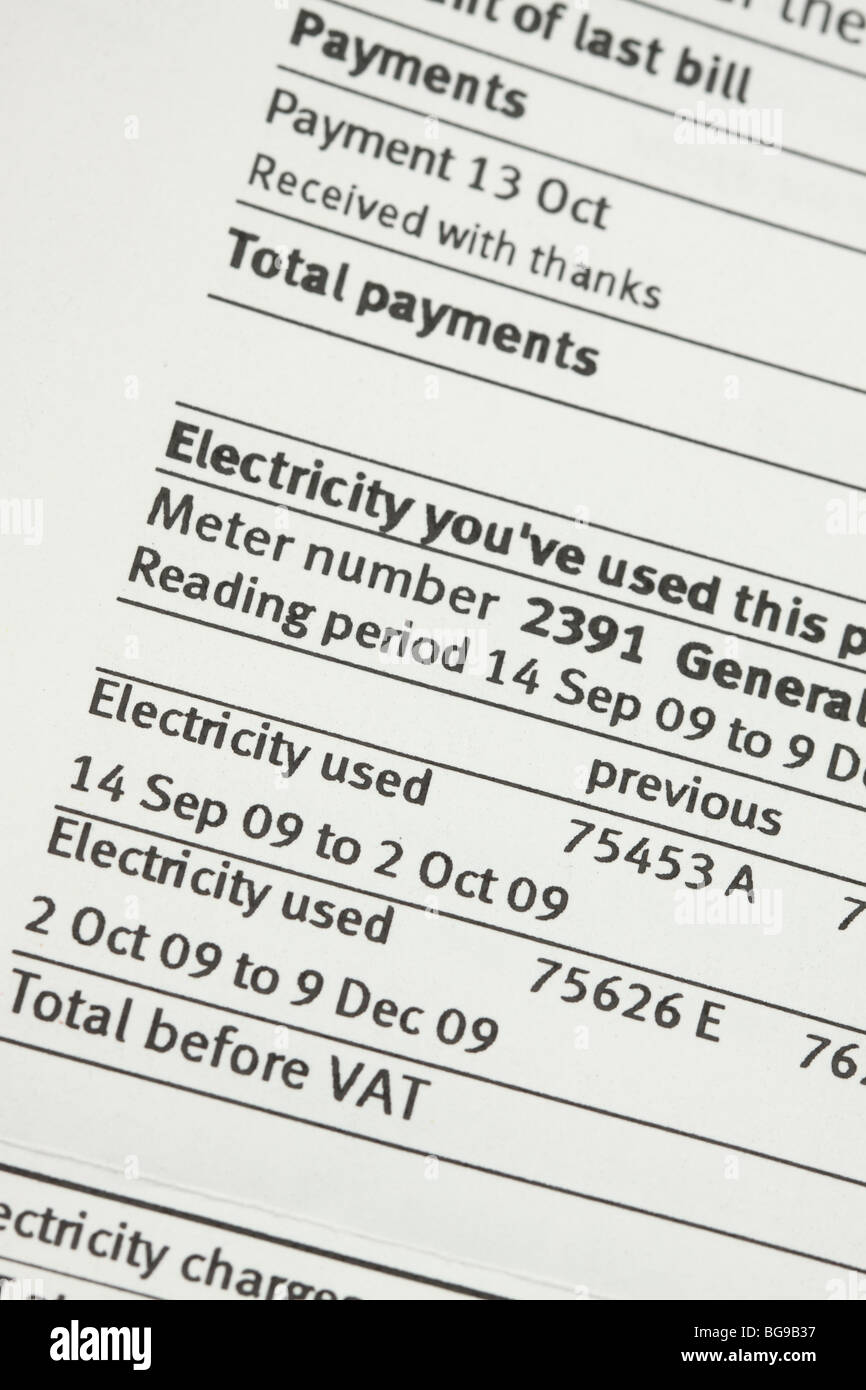 UK Electricity bill domestic fuel bill showing meter readings Stock