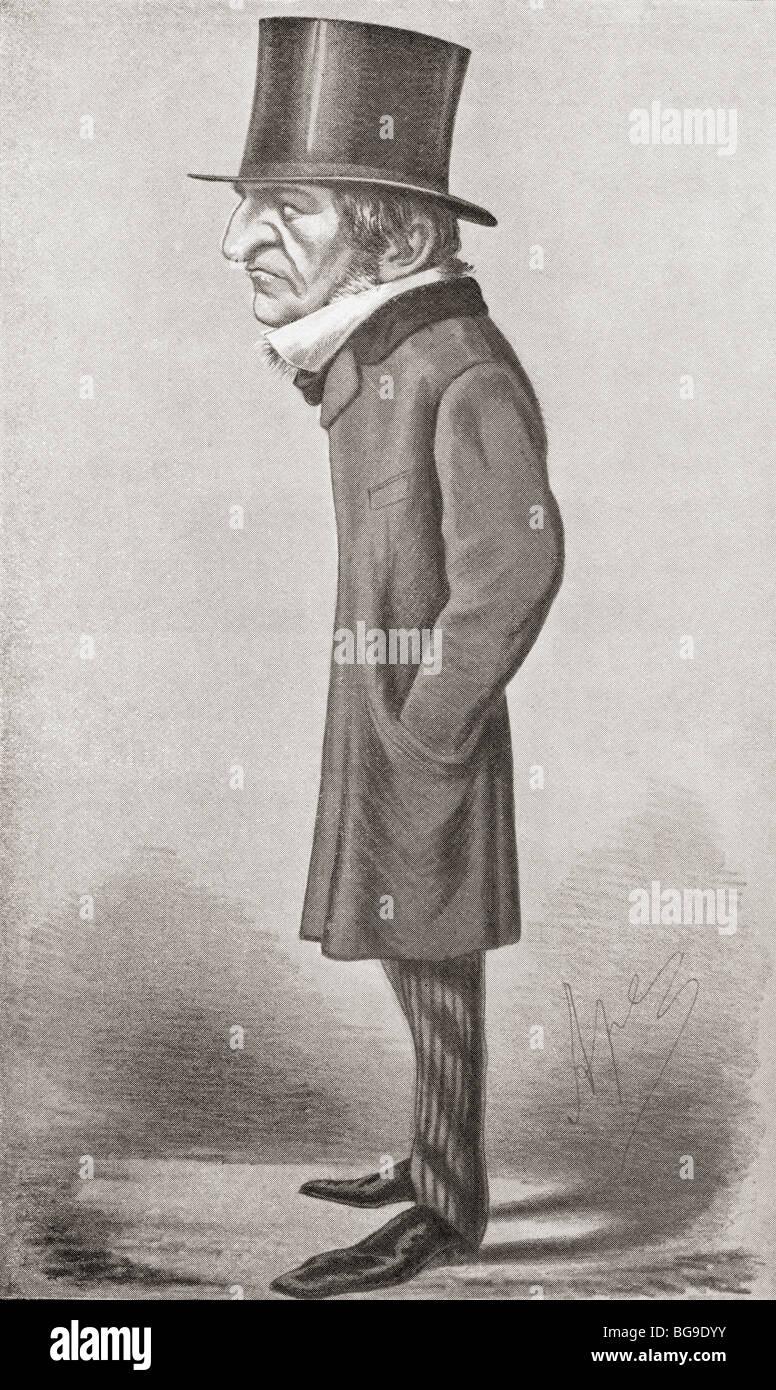 Caricature of William Gladstone by Vanity Fair cartoonist Ape drawn in 1869 - Stock Image