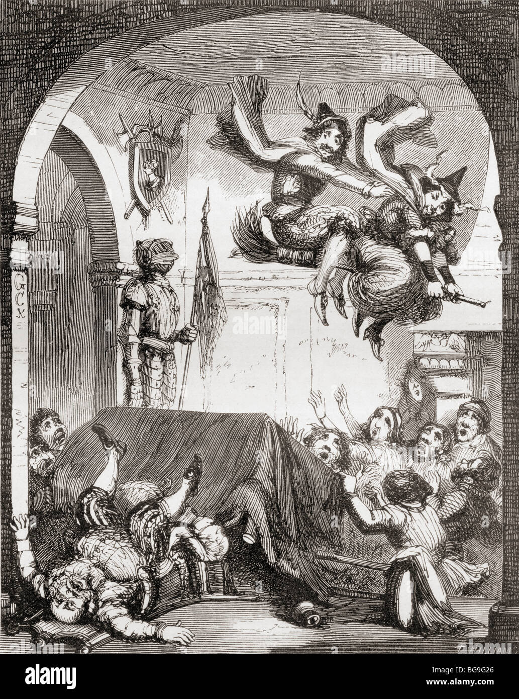 Illustration by George Cruikshank to the poem The Witches Frolic. - Stock Image