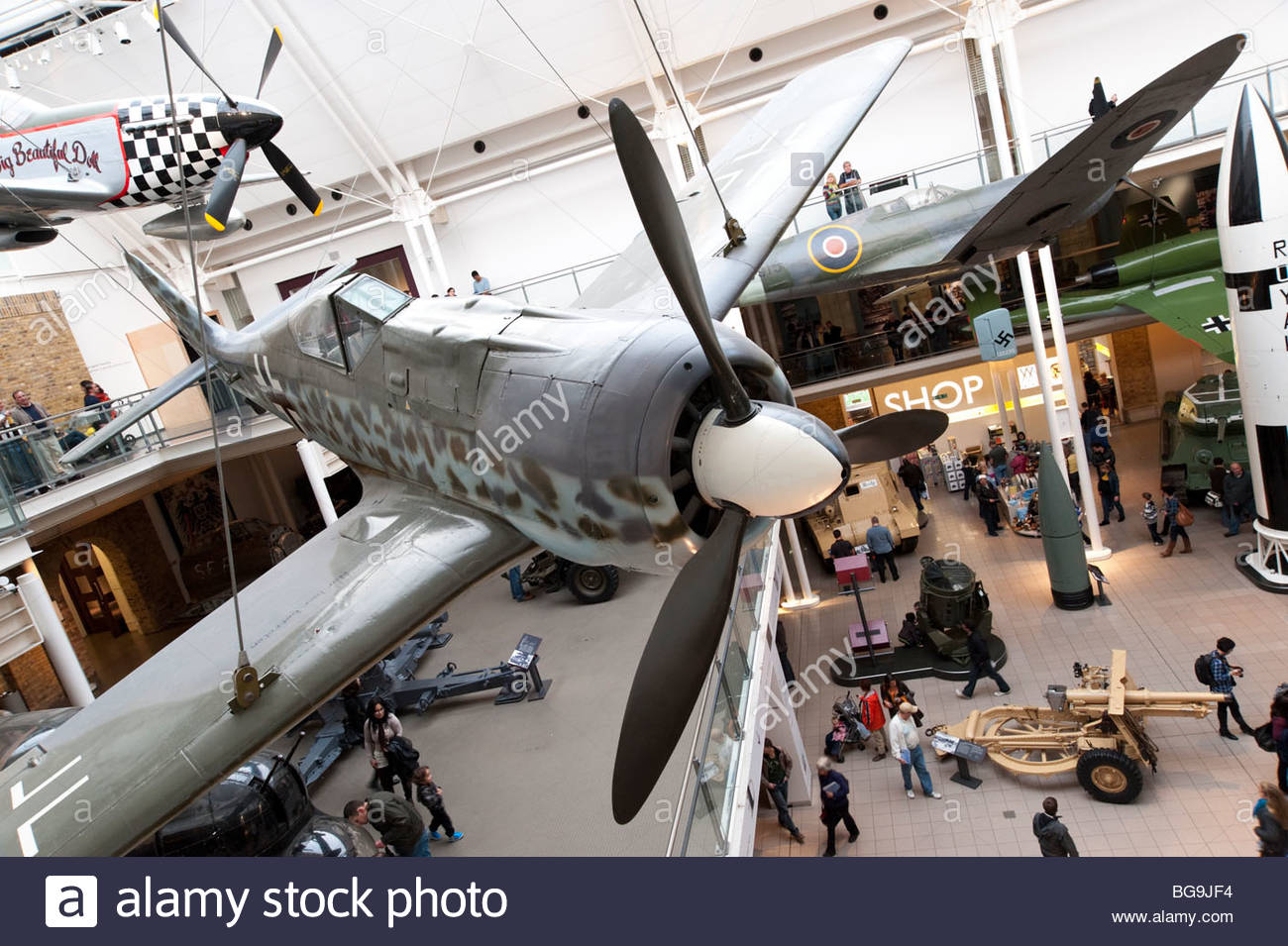 German Focke-Wulf Fw 190 World War II fighter aircraft in the Imperial War Museum, London, England, UK - Stock Image