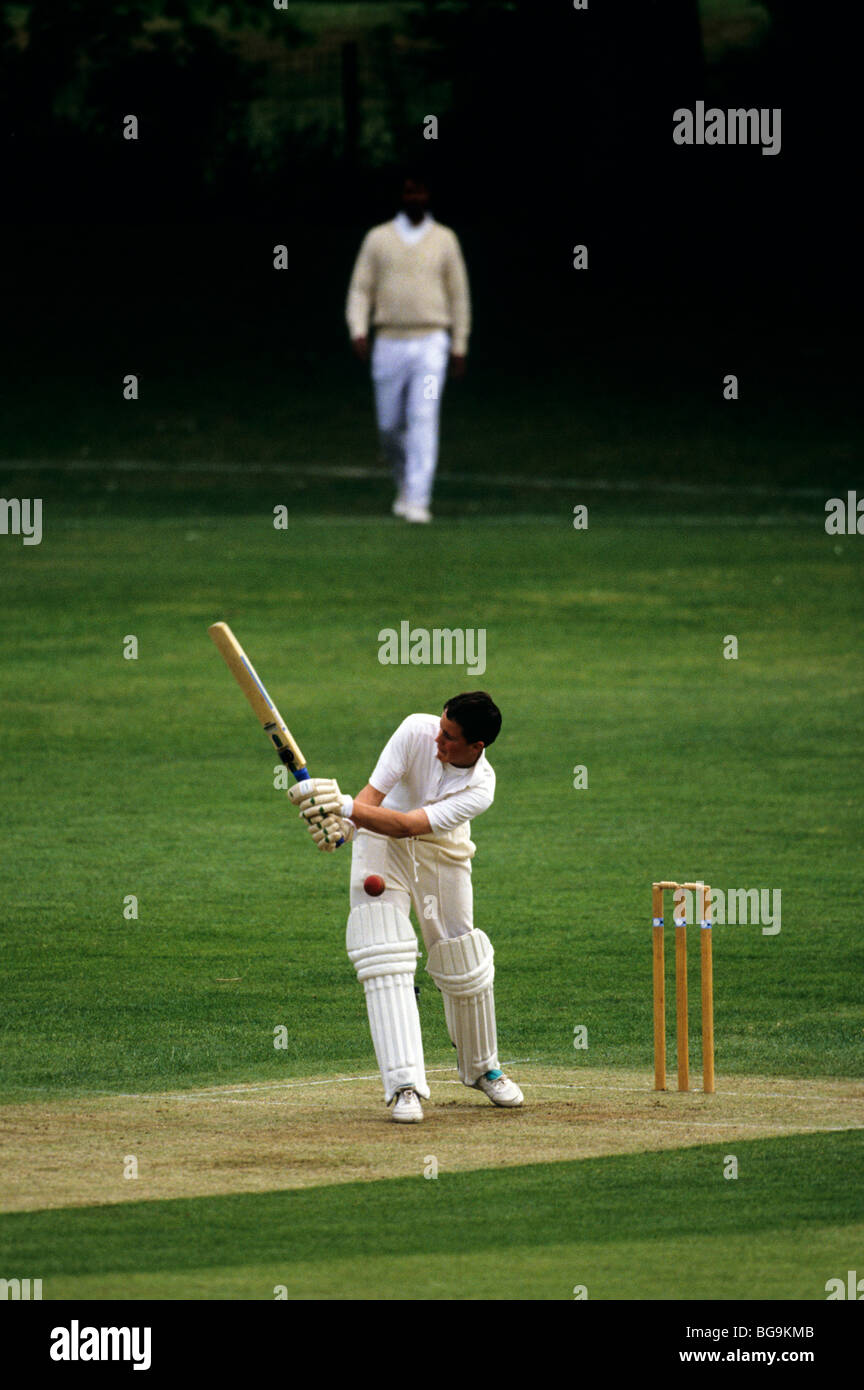 Batsman gets hit by the ball - Stock Image