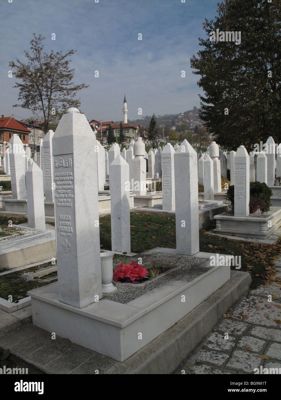 Bosnia Sarajevo . Cemetery with graves of those killed by Serb forces during the 1992-95 war - Stock Image