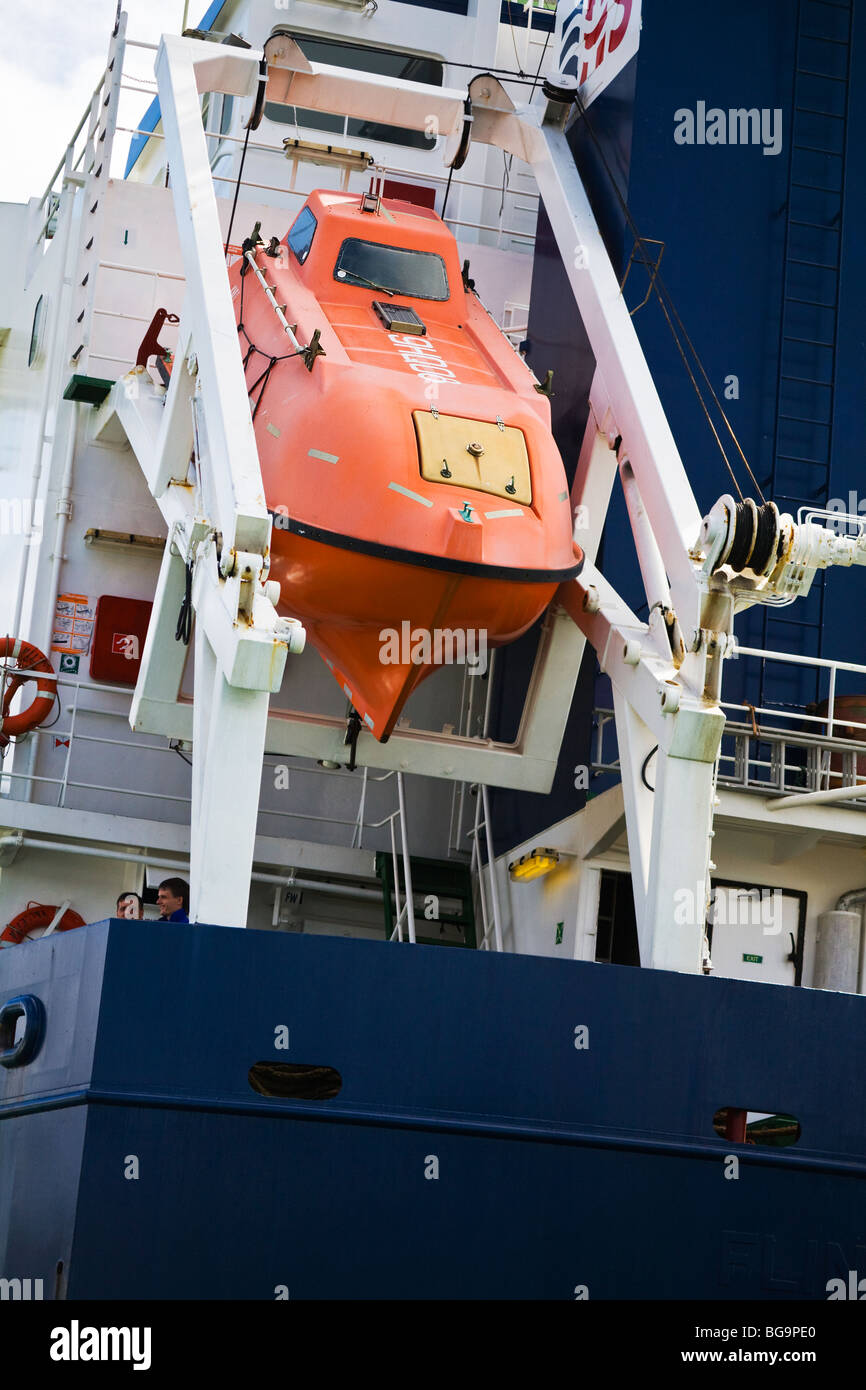 The Danish cargo transport ship, Thor Falcon moored in Poole harbour, Dorset. UK. Detail of on board lifeboat at - Stock Image