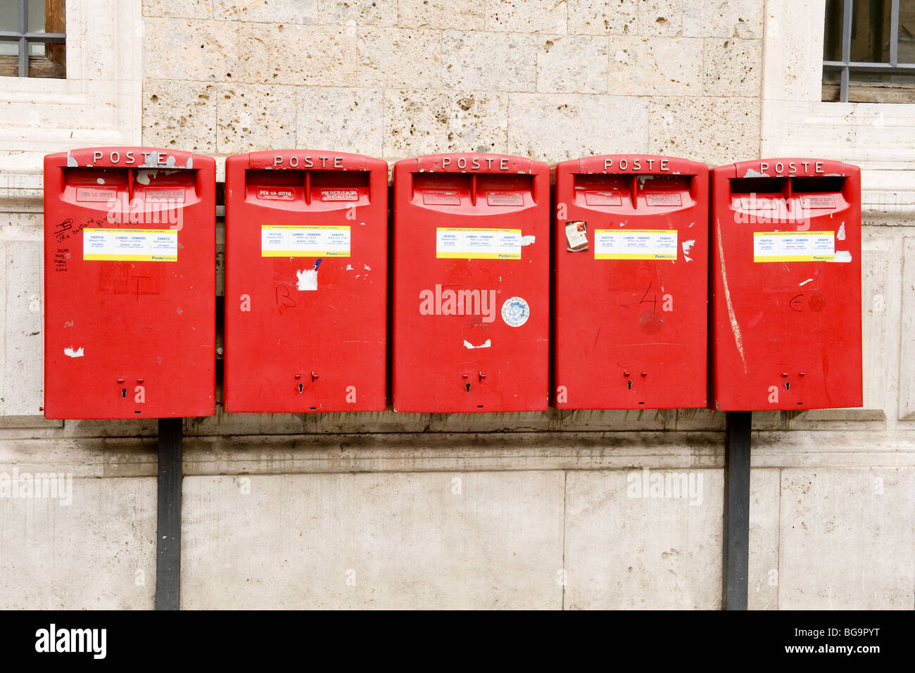 Siena, the red letter boxes in the square - Stock Image