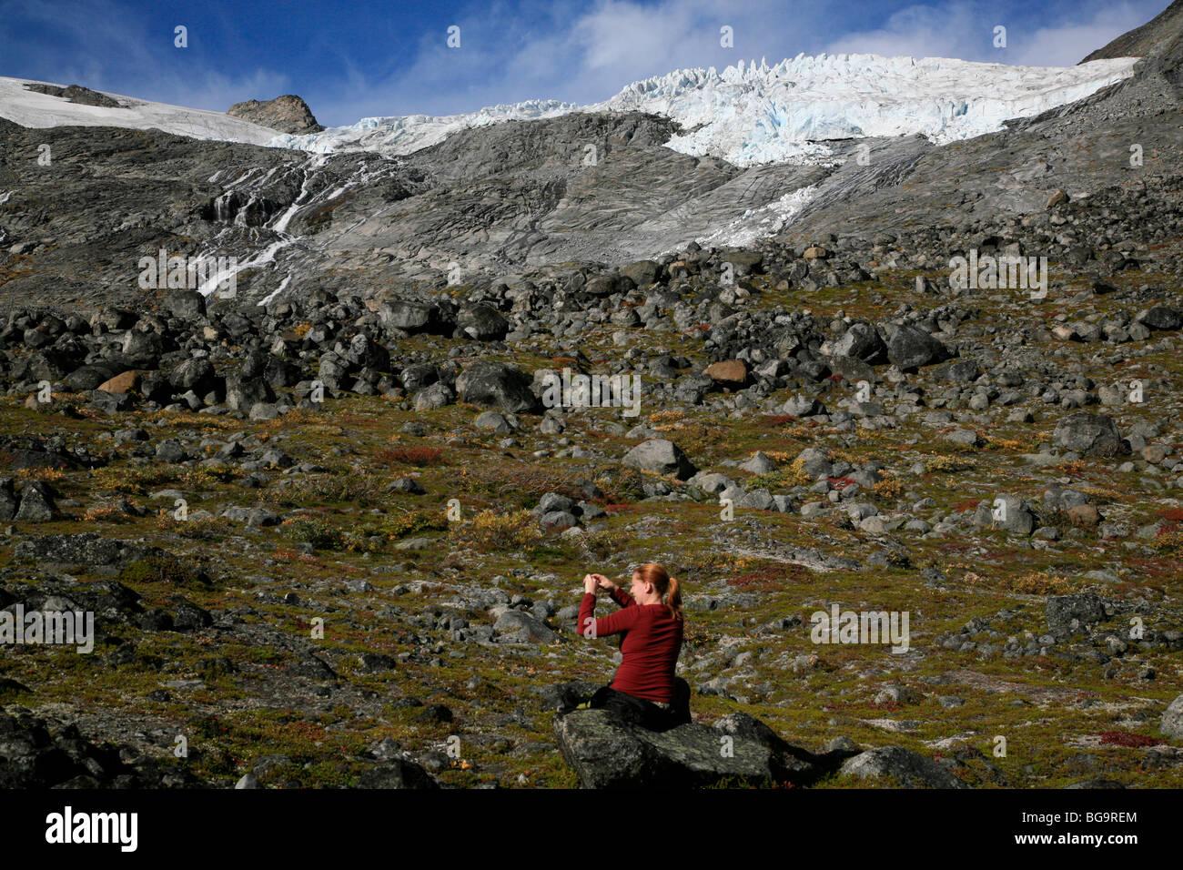 Galdh¿piggen Styggebreen Glacier from the Visdalen ascent in the Jotunheimen National Park, Oppland, Norway, - Stock Image