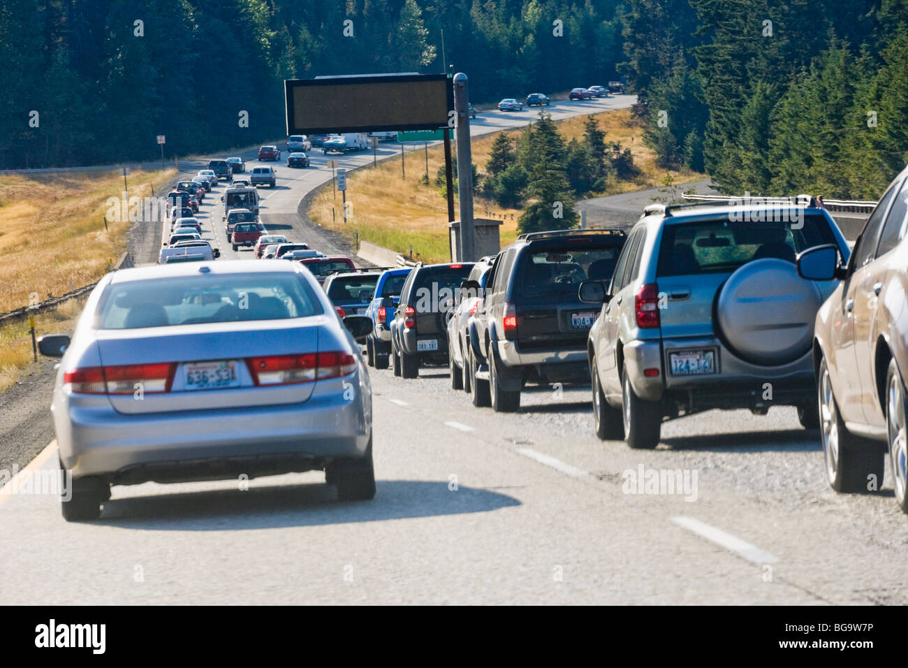 A traffic jam on Interstate 90 in the Central Cascades of Washington State, USA. - Stock Image