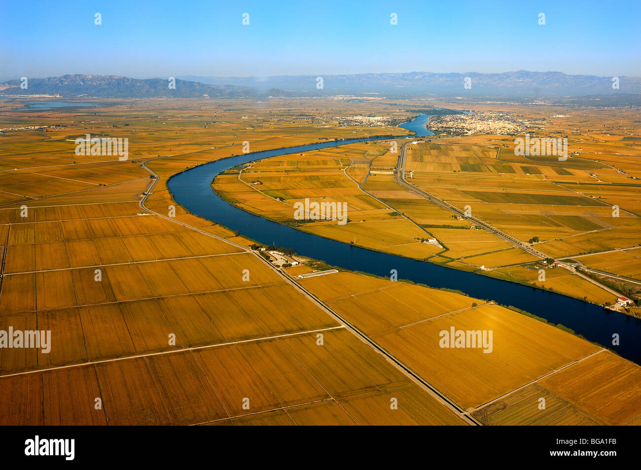The Ebro River crossing the Delta de l'Ebre Stock Photo
