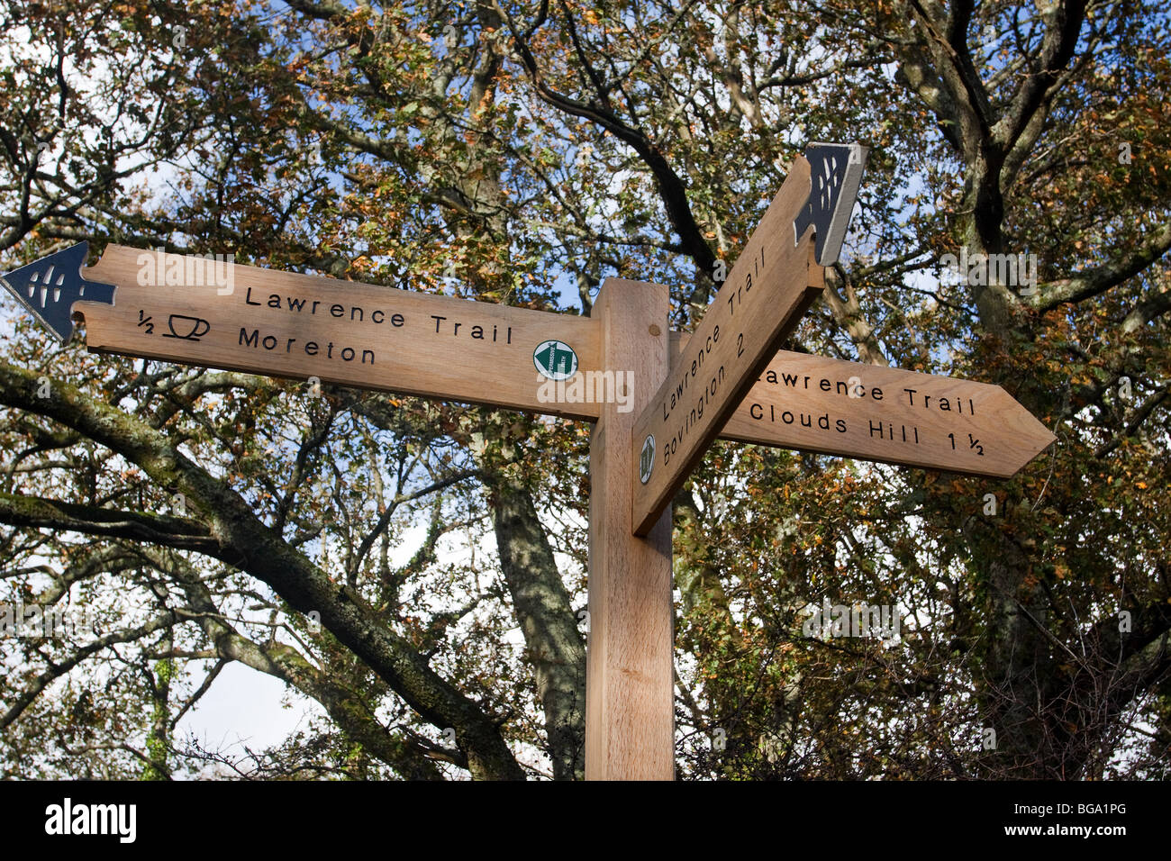 Sign on the Lawrence Trail which links Moreton where TE Lawrence is buried with Clouds Hill and Bovington - Stock Image