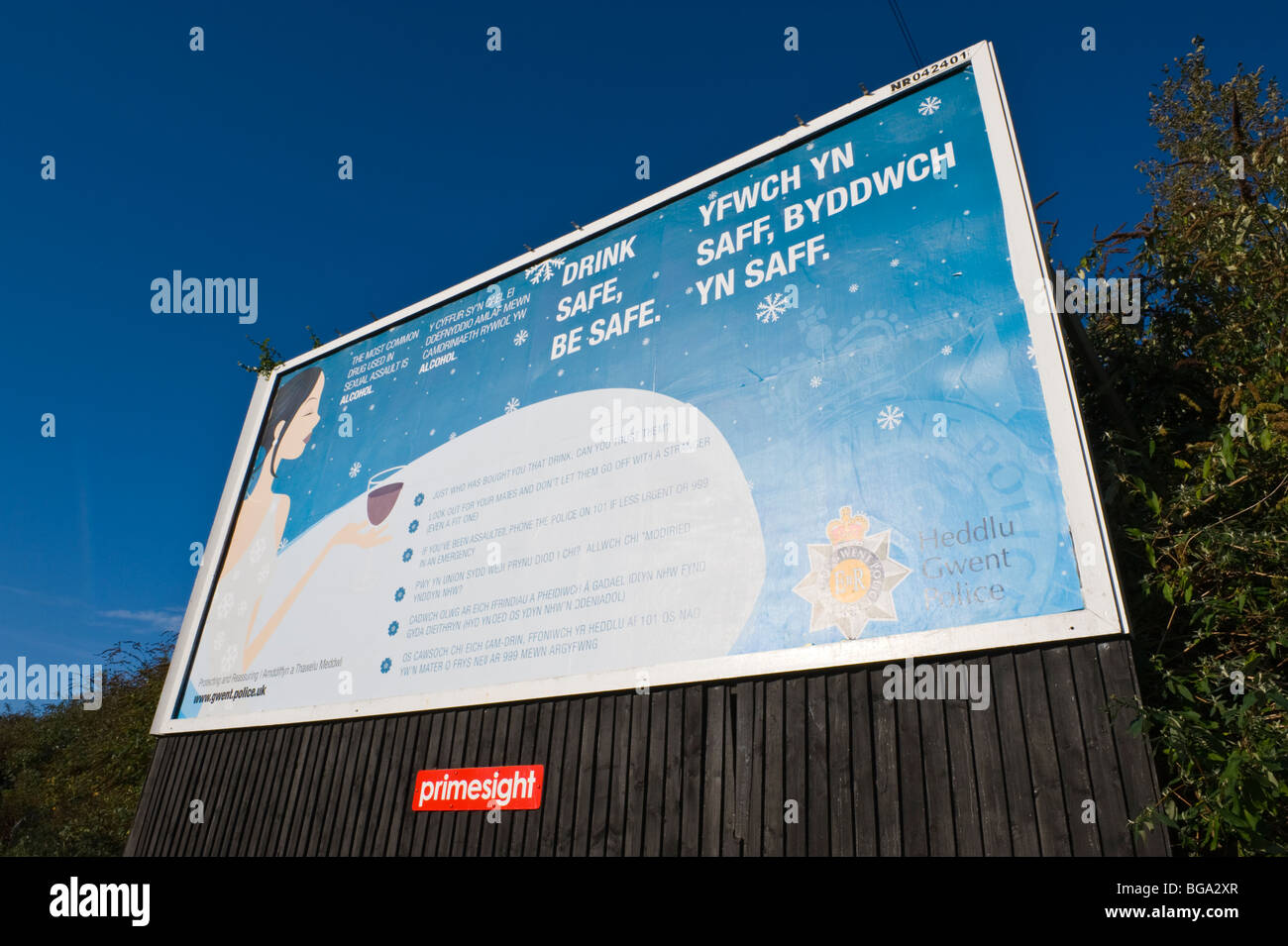 primesight billboard site featuring DRINK SAFE poster  Gwent Police drink drive campaignin Newport South Wales UK - Stock Image