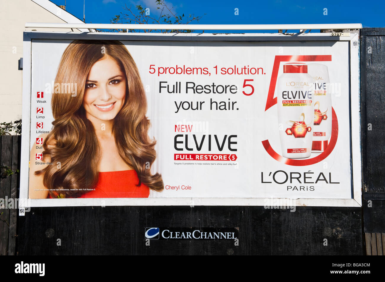 ClearChannel billboard site featuring Cheryl Cole on L'Oreal poster in Newport South Wales UK - Stock Image
