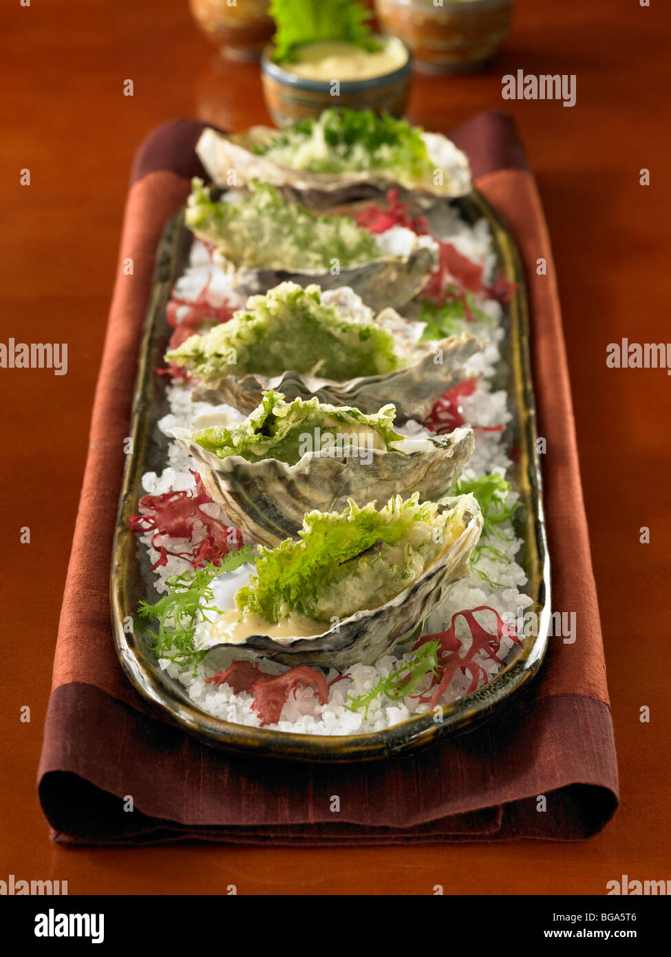 Deep fried oysters in half shell in course salt on plate - Stock Image