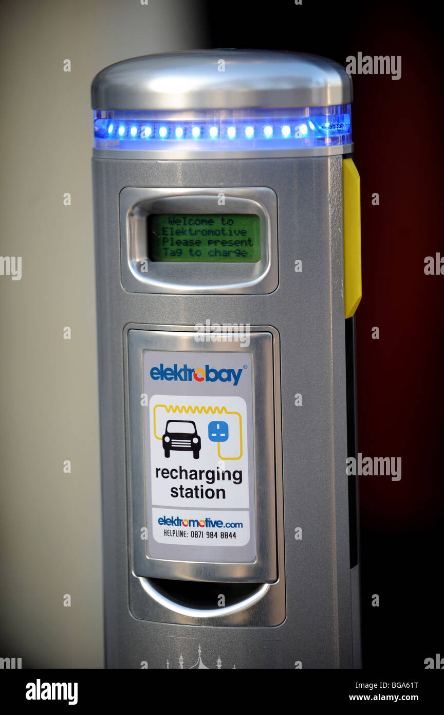 Electric car charging point in brighton Stock Photo
