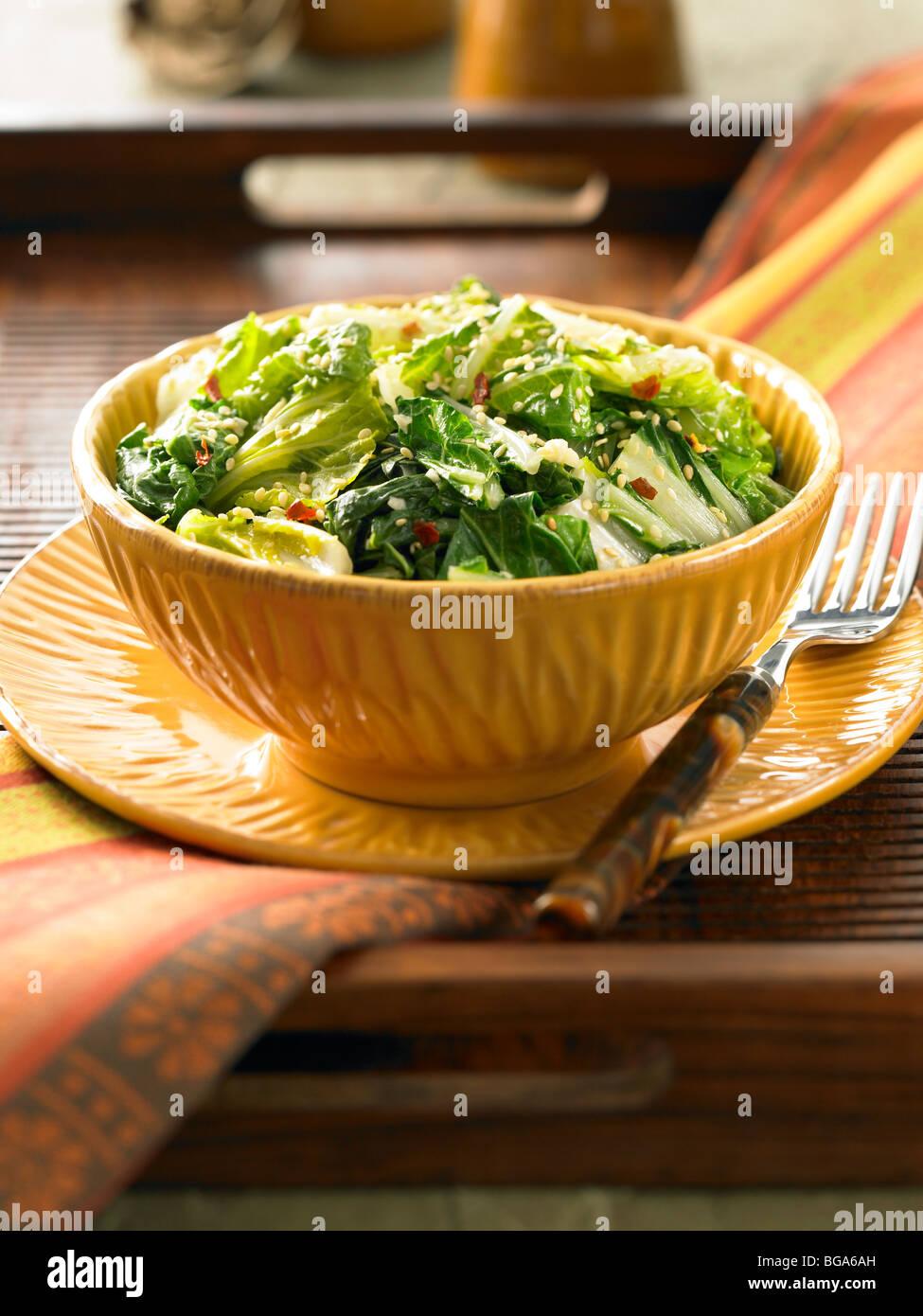 Sesame garlic bok choy salad - Stock Image