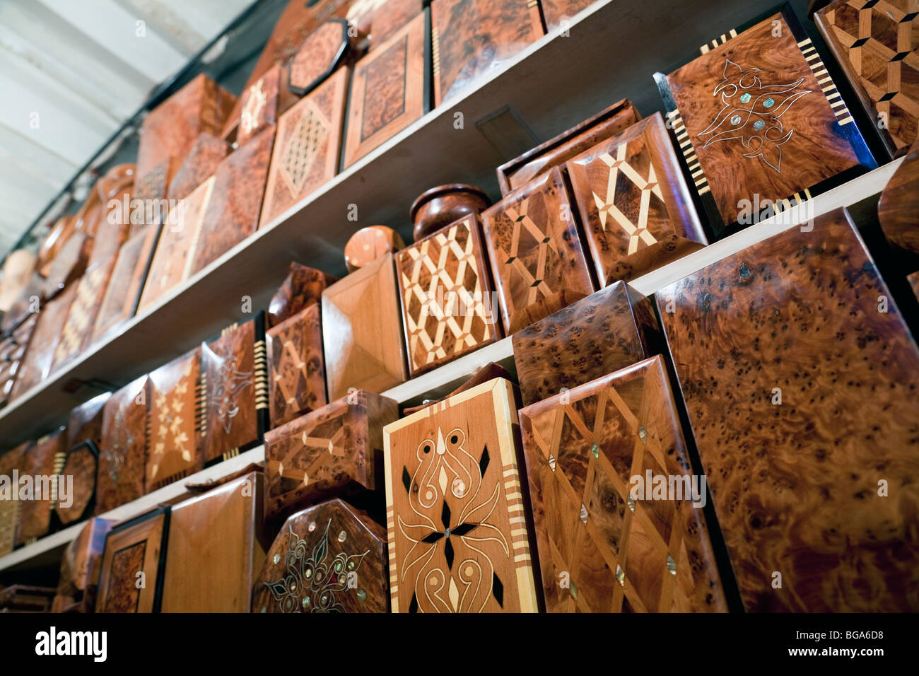 Morocco Marrakesh Souk de Cuivre Woodwork for sale - Stock Image