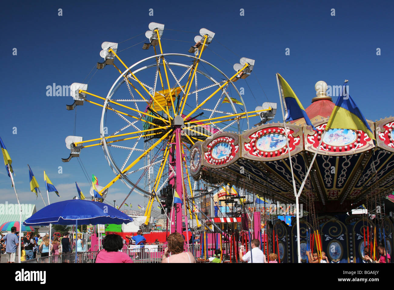 ferris wheel and carousel carnival rides ohio state fair columbus
