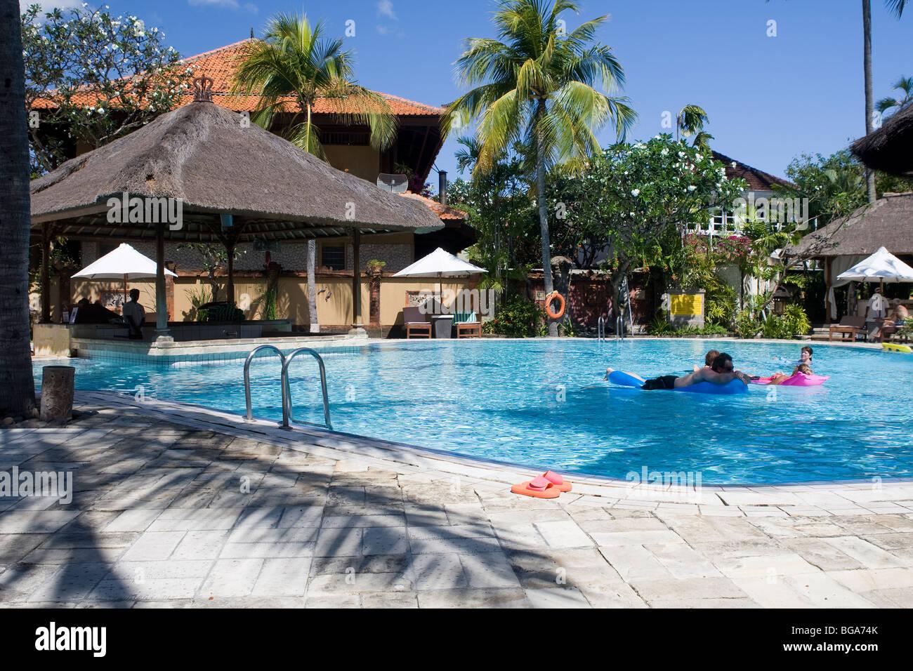 Pool, Santika Beach Hotel, Kuta, Bali - Stock Image