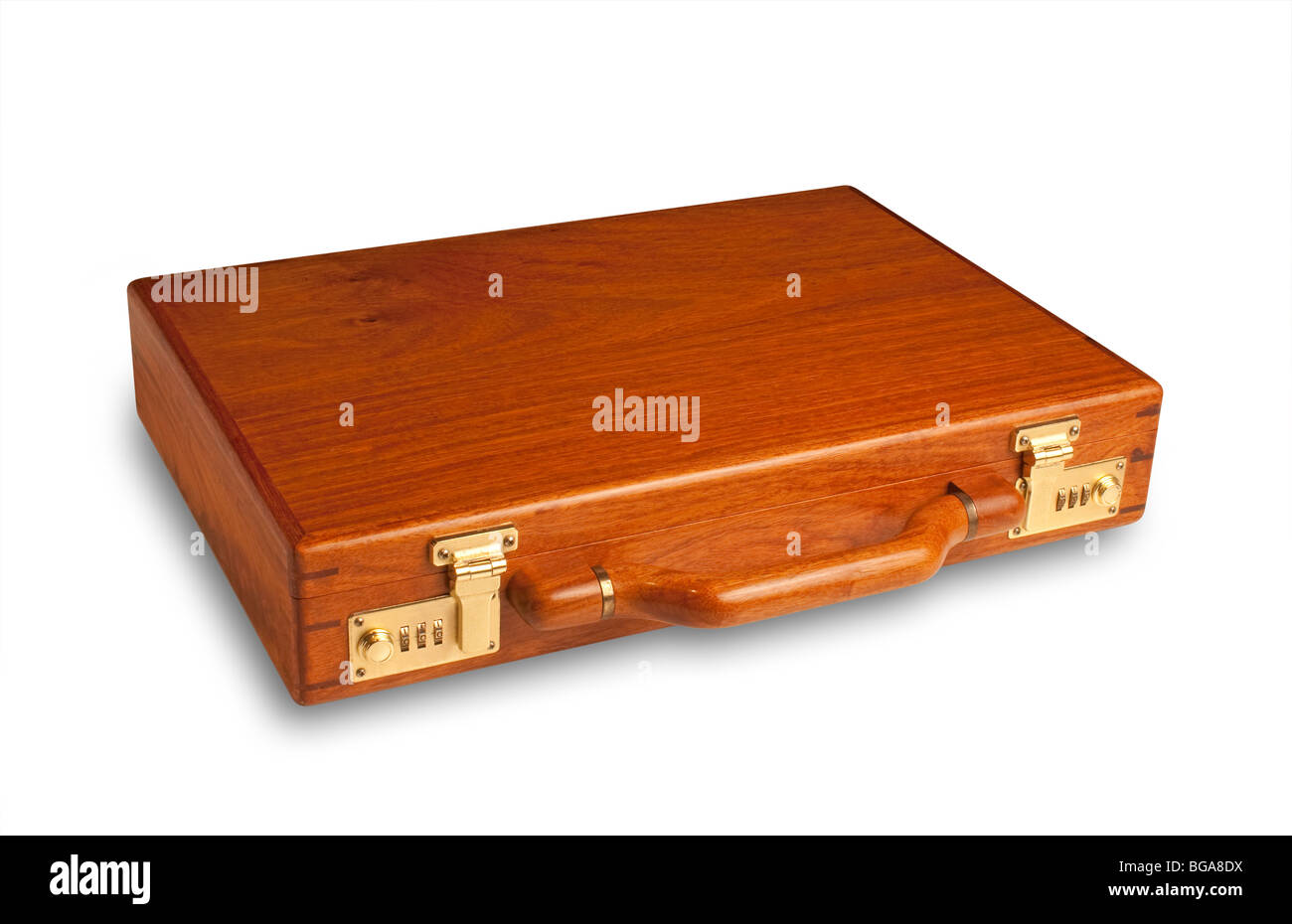 attache case made of rich cherry wood with brass latches, includes shadow and clipping path - Stock Image