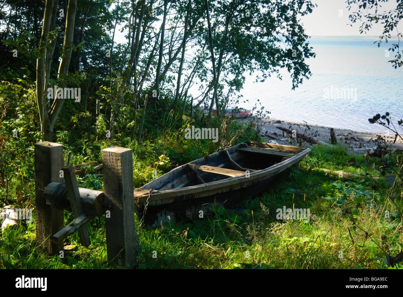 Old boats on the shore of the Kama River, Perm, Russia Stock Photo