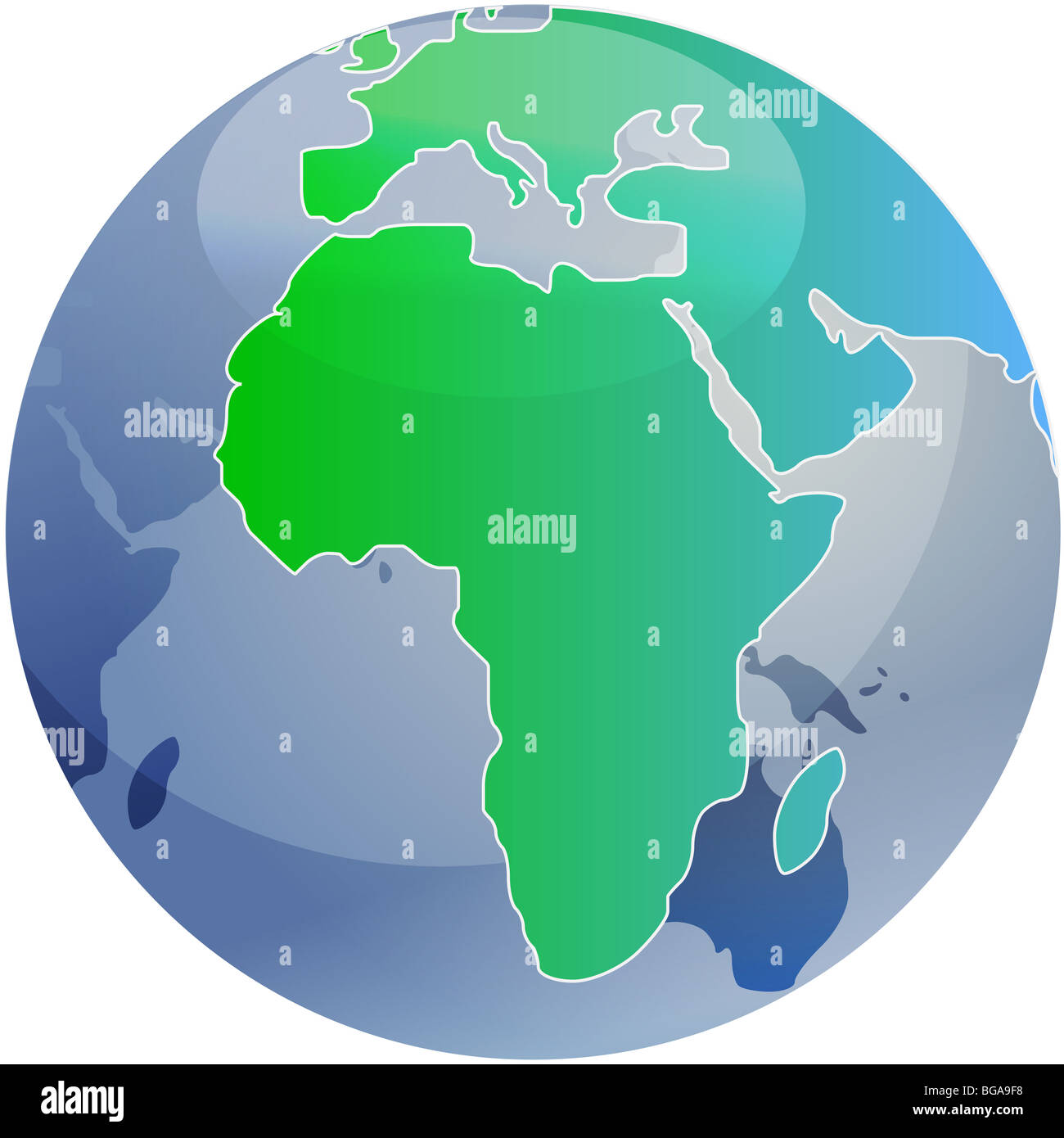 Spherical World Map.Map Of The Africa On A Spherical Globe Cartographical Illustration