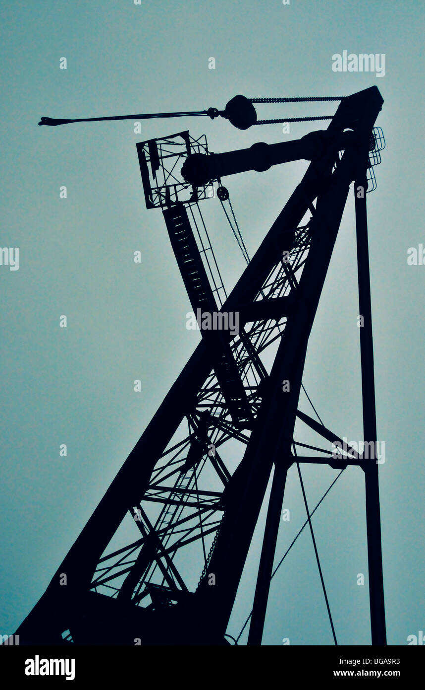 Disused crane Arsenale Ship Yard Venice Italy - Stock Image