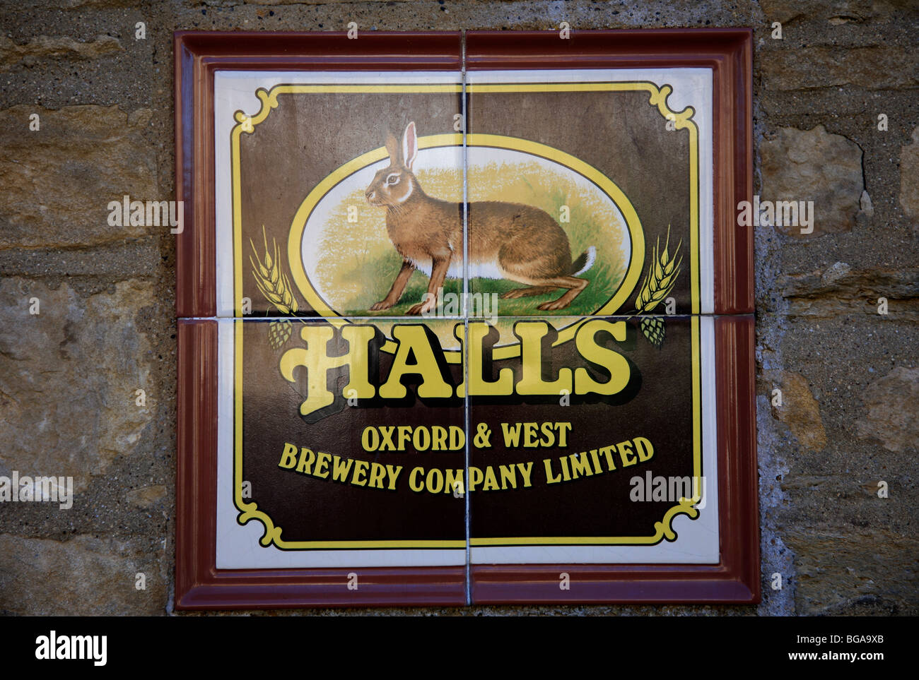 Halls Oxford and West Brewery Company Sign Charlbury Village Oxfordshire Cotswolds England UK - Stock Image