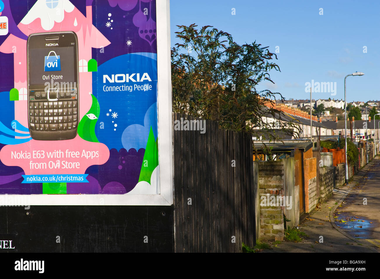 ClearChannel billboard site featuring poster for Nokia mobile phones in Newport South Wales UK - Stock Image