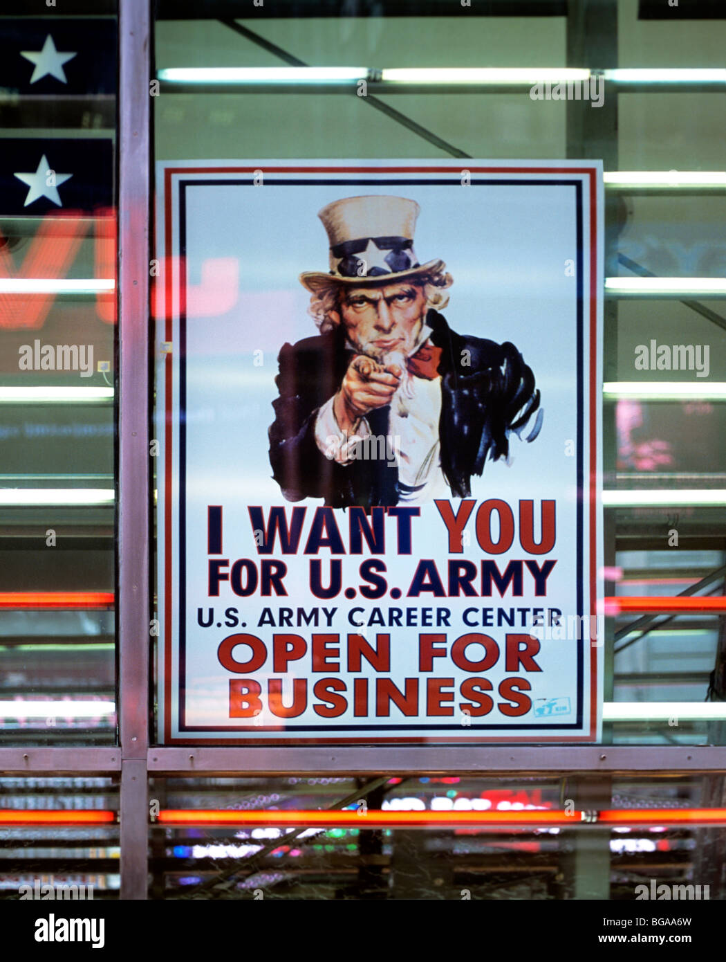 'I want you for U.S. Army' recruiting poster, US Army career centre, Times Square, New York City. - Stock Image