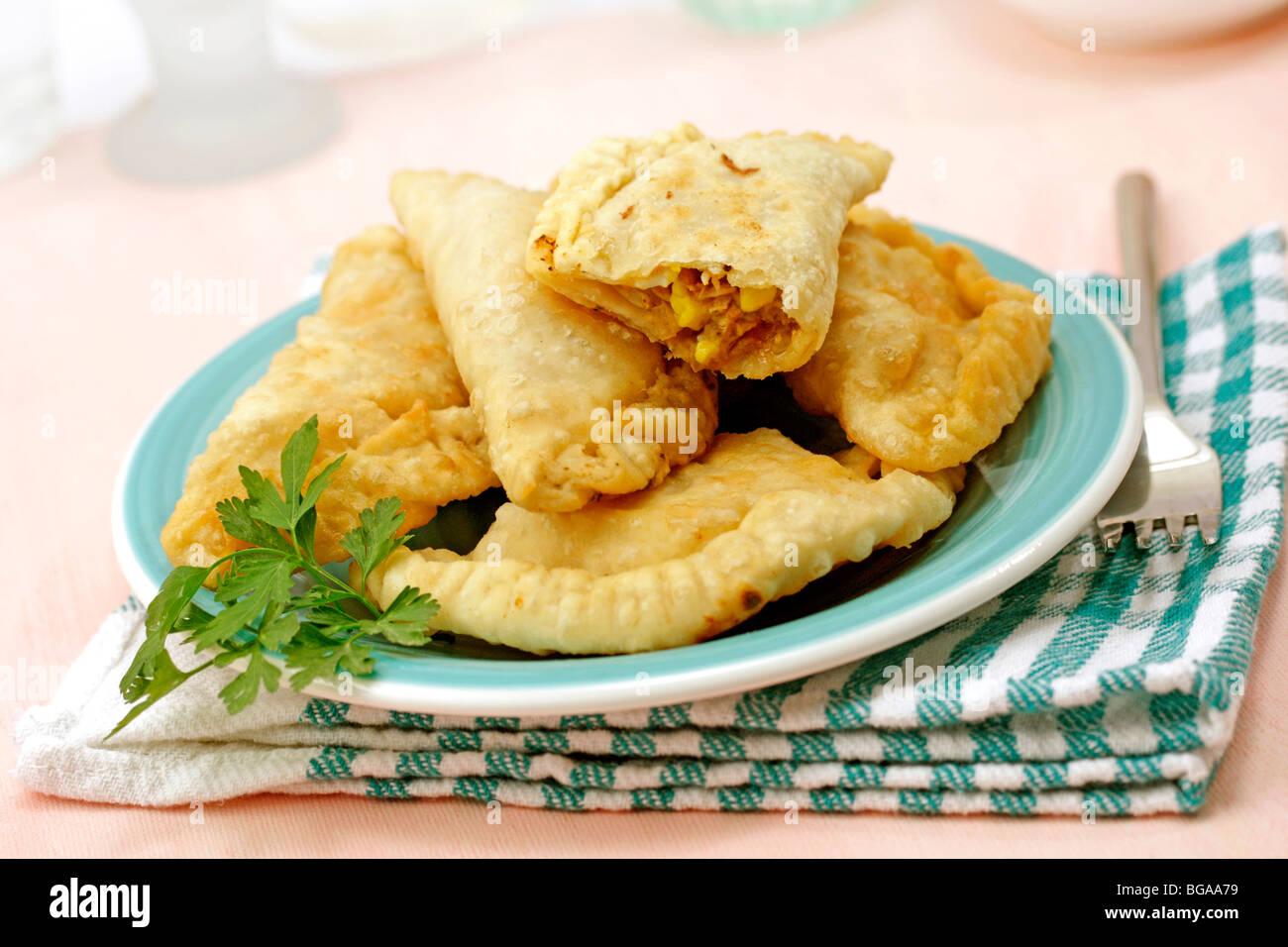 Tuna turnovers. Recipe available. - Stock Image