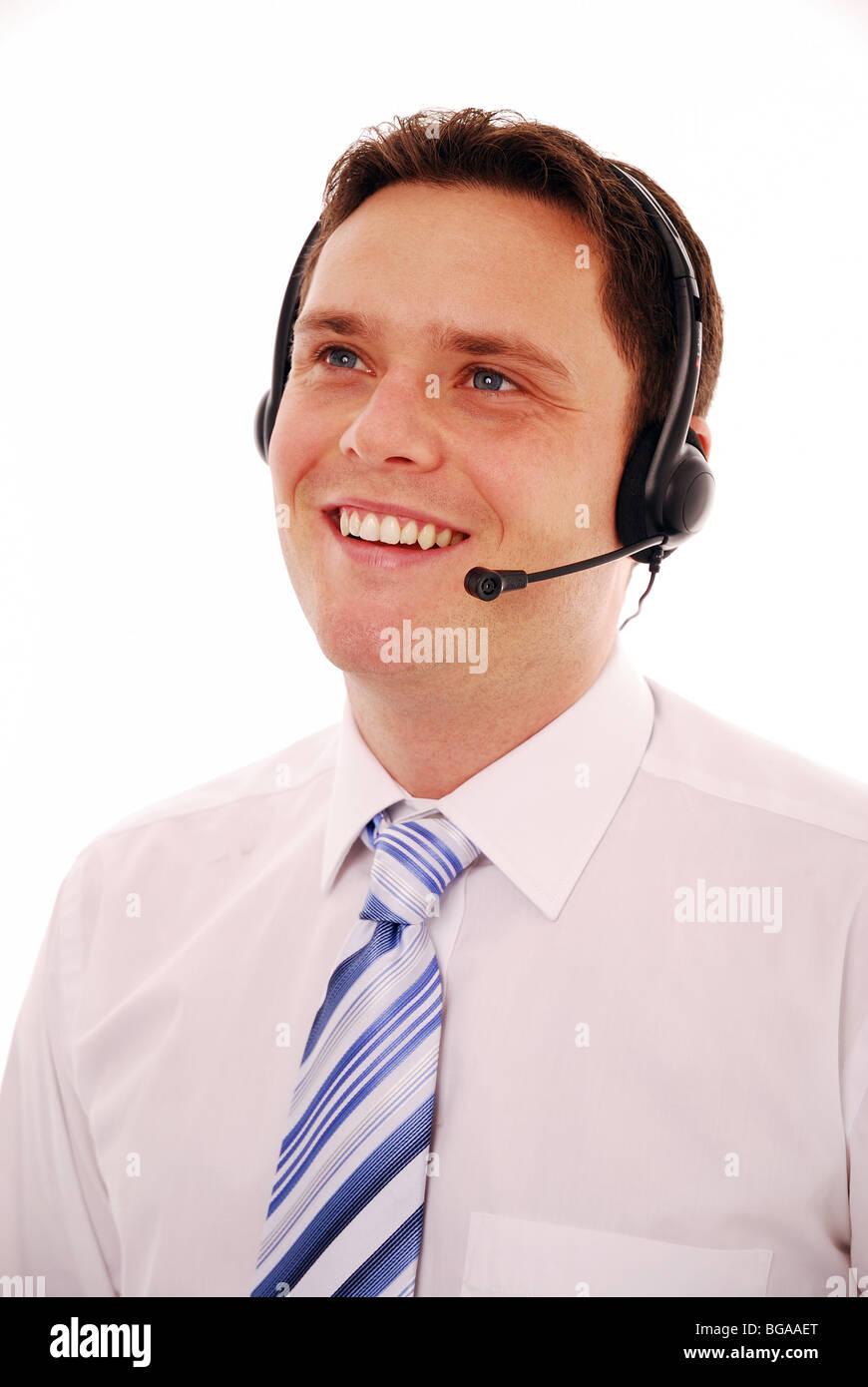 male worker wears headphones - HD870×1390
