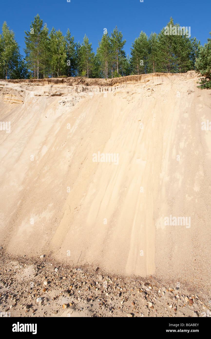 Fine sand at glacial esker edge - Stock Image