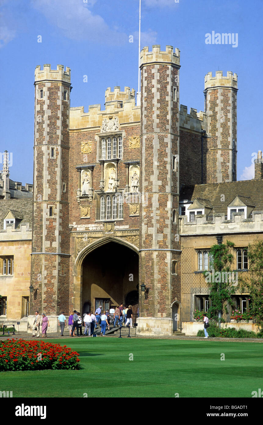 Trinity College Cambridge, Great Court Gatehouse University English university building buildings Cambridgeshire - Stock Image