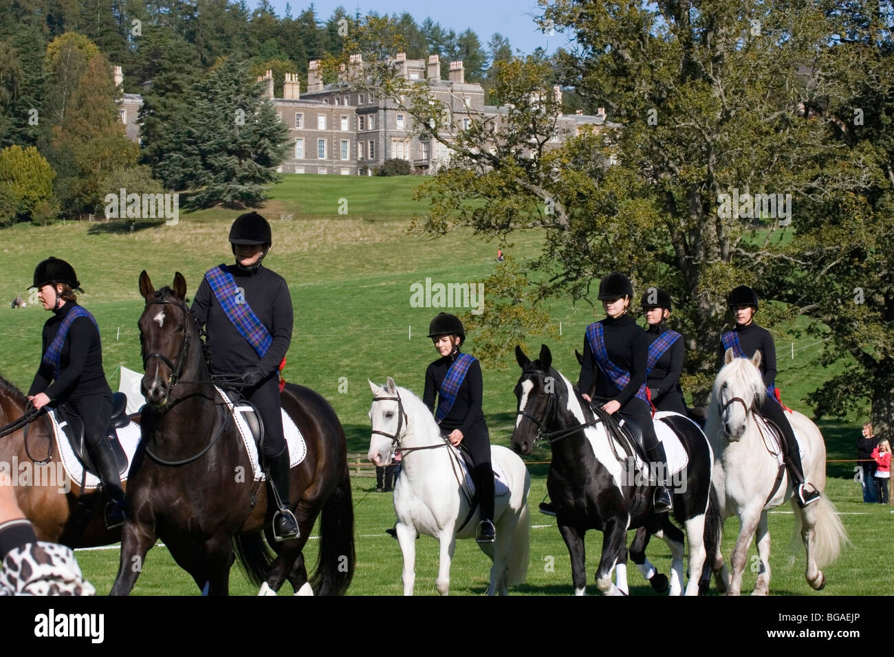 Horse riding display at Bowhill, Selkirk, Scottish Borders - Stock Image